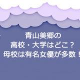 青山美郷の高校大学はどこ?